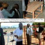 The Chikuku Youth Centre Project -  Zimbabwe - A coffee table crafted by the wood work trainees and some window frames crafted by the welding trainees were on display.