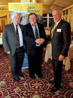 New Members  - Eddy Pyle, a recent new member, inducted on Tuesday 18 February, introduced by Bryan McKenna. The picture shows President Peter Bosley welcoming Eddy to the club, accompanied by Bryan.