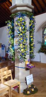 Community Flower Festival - The club's display was based around a pillar with four identical panels. Crocus buttonholes in a moss setting at it's base also linked the display to End Polio Now.