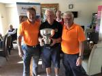 Charity Golf Day 2019 - Rose Bowl presented by Mike Hedges to 2 members of the winning Team, Jim Farmer and Richard White