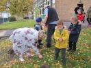 Supporting World Polio eradication - Head Teacher Karen Elliot also helps with the planting.
