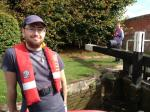 2013 Barge Trips for Local Community Groups - Rotaract members manning one of the many locks