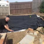 11th Sept 2015 - today is pond day ! - Laying out the butyl liner