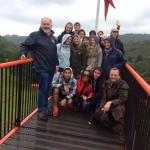 District Summer Camp 2015 - President Kevin and the visiting students at the top of Laxey Wheel