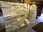 Falkland School Shoebox Collection   - stacked in Hemant's garage and ready for collection
