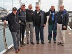 Archives 2013-2014 - President Peter, accompanied by a group of Preston Rotarians, meet Martin and his friend from Canada, Kurt Kowalchuk, as he arrives in Torquay on the latest leg of his run.