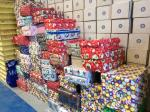 Spreading a little happiness in Eastern Europe - Shoeboxes waiting to be loaded onto pallets at Spectraglass