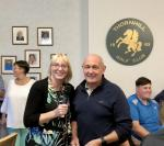 The Rotary Club of Thornhill and District's Am-Am 2018 - President Liz Baxter presenting cheque to the value of £500.00 to Club Captain Geoff Smith for Thornhill Golf Club - Junior Section