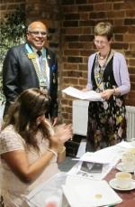 President's Night and 25th Anniversary of Charter Celebration - District Governor Paul Jaspal presented a 25 years service award for the Rotary Club of Wylde Green to President Penny Thurston.