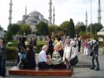 Istanbul Cultural Visit - Chistiane, Jan and Wilma in front of the Blue Mosque