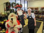 SANTA AND THE MUSICAL SANTA SLEIGH VISITS THE MARTON BOOTHS STORE  - Kelly was popular.  She brought the coffee.