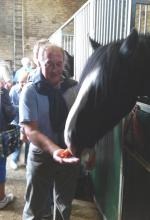 Outside Visit - Equine Pathways - Ian feeding LittleJack with a carrot