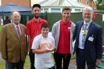 Mencap Garden Party 2016 - Graeme with Mencap President, Arthur Heffernan, presenting a Boules plate trophy (kindly provided by Arthur) to Mencap's winning Plate team from our 2016 Boules in the Square event.