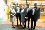 Nantwich Rotary Charter Night - DG Beryl, President Tony,Clare, Guest Speaker Jon Kay and Sir Maurice Kay