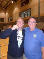 THE DISTRICT GAMES FOR THE DISABLED - IPDG Terry and a very proud Medal Winner Stephen Milane, who scored the third goal for Team Blue in the walking football.