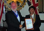 Club Assembly 2009 - Tasneem with outgoing President Philip.