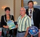 Tenby Charity Calendar on sale in Capital City - Mayor of Tenby Cllr Sue Lane,RC of Tenby President Nigel Ayers and Ken Brombley, Chairman of Pembrokeshire HOPE