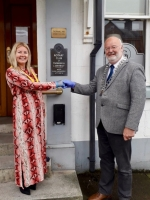 Rotarian Keith Shedden takes over as Club President 2020-2021 - Pic 3, L-R Charlene Henderson receiving Vice President ribbon from President Keith Shedden