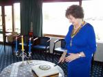 Windsor and Eton Inner Wheel Tea Party - President Jean David cutting the Birthday cake