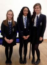 Rotary Youth Speaks Competition 2016. St Martin's Progress To The Regional Final - First heat winners: Left to right: Molly, Tamara and Izzie