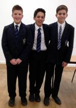 Rotary Youth Speaks Competition 2016. St Martin's Progress To The Regional Final - First heat runners-up: Left to right: Adam, Toby and Harry