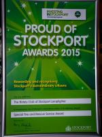 Proud of Stockport Awards 2015 - Proud of Stockport Awards certificate
