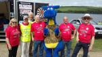 EAGLE FLIES OVER THE FINISH LINE AT LLYSYFRAN - Rotarians welcomed Idris the Dragon - Copy