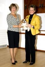 Presentation of Cheques 2008 - President if the Inner Wheel Club, Liz Rose, presenting a cheque to Pets as Therapy.