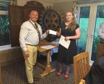 Youth Activities - Rotary Young Citizen Award to Molly Brickley Clark 28th July 2015