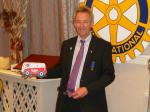 Handover Meeting - Outgoing President John Doyle with his gift of an Ice Cream Van