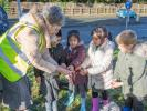 Planting 5,000 Crocus Corms for Polio Eradication - Giving out the bulbs