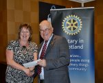 2014 Skye Rotary Annual Awards Dinner - Rotarian Chrisann O'Hallaron receives this 500 pounds award for MacMillan Nurses. They provide expert advice, support and information for those with cancer.