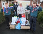 Sandbach Scouts supporting Shoe Aid - Behind from left, Rtn. Eric Cowcill, Scouts Leader Lise Grasmeder and Rotary Club President Rtn. David Barringer