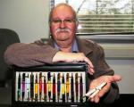 The Men's Shed - Geoff Thomas with pens he made from scratch.