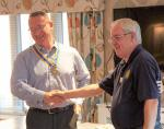 Chartering of Wych-Malbank Nantwich Rotary Club - Tony Coxhill presenting John Poulson with his Chain of Office