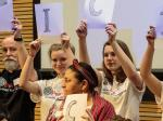 PeaceJam 2016 UK Conference - What is it that Esme and Lily are spelling out?