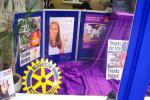 Painting the Town Purple for End Polio Now - Shop window display in Phonus Insurance