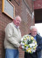 Visit to Horwich - Presidents Mike Priest and Ted Wisedale with the wreath to mark the 56th Anniversary of Winter Hill.