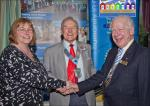 New Members  - Yvonne being inducted by President Paul Forsey accompanied by District Governor Peter Bennett