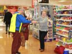 Zumba in the Co-op - John takes Linda up the aisle