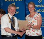Archive Pictures 2012-2013 - Anna Gilroy receiving her 'Friend of Preston Rotary' certificate