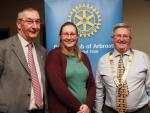 Club Photo Gallery July 2015 to June 2016 - Jennifer Graham (centre) and daughter of Alasdair Graham (left) was a Guest Speaker in January 2016. President David Miller is on the right.