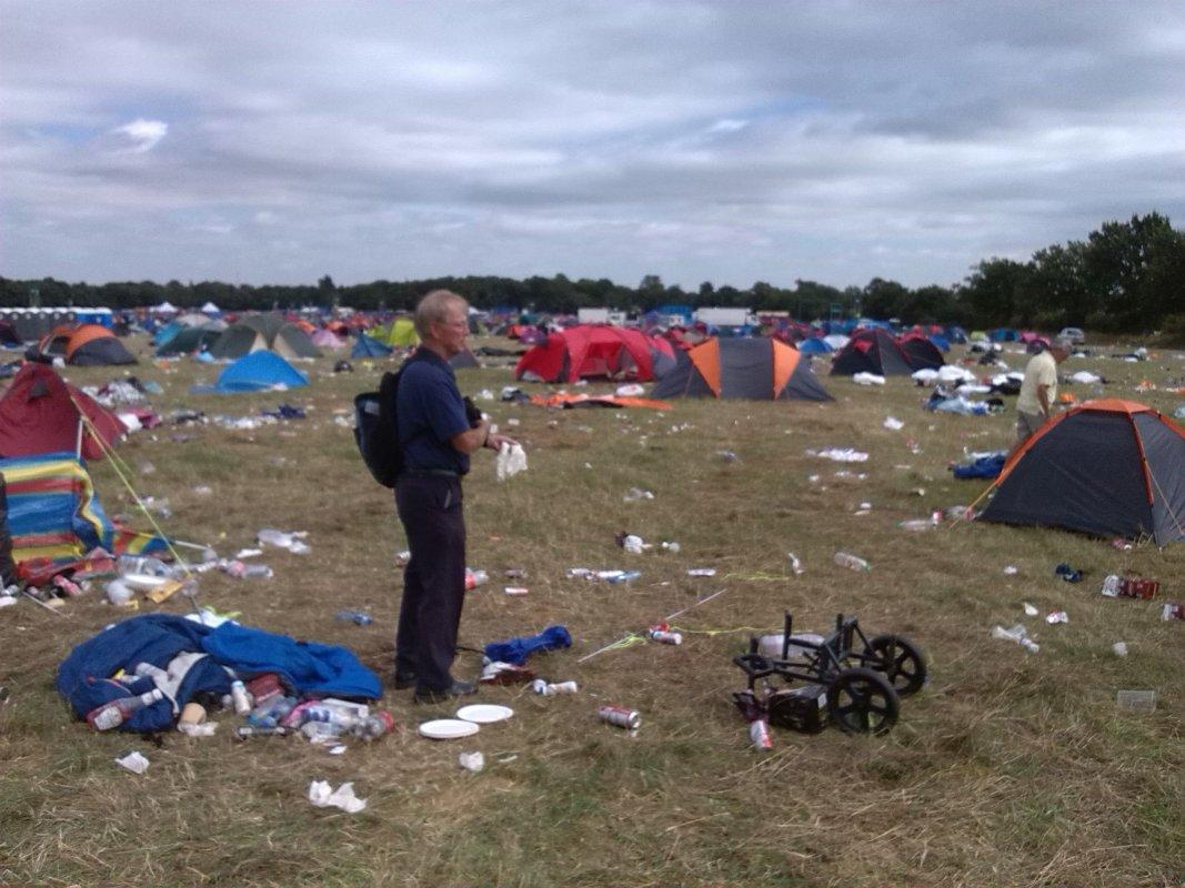 V Festival Clear Up - Barry, the organiser of the day, surveys the task in hand