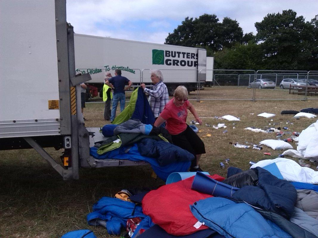 V Festival Clear Up - The folding & packing station