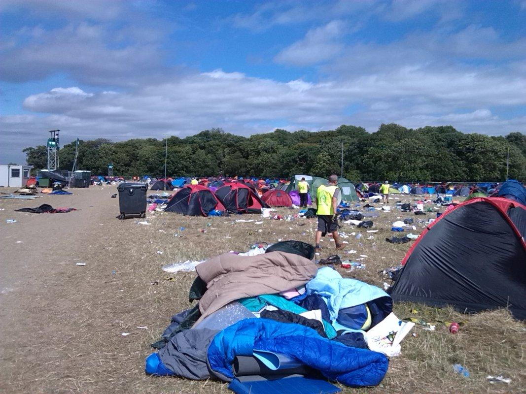 V Festival Clear Up - 'Sweeping another batch of tents for sleeping bags & bedrolls'