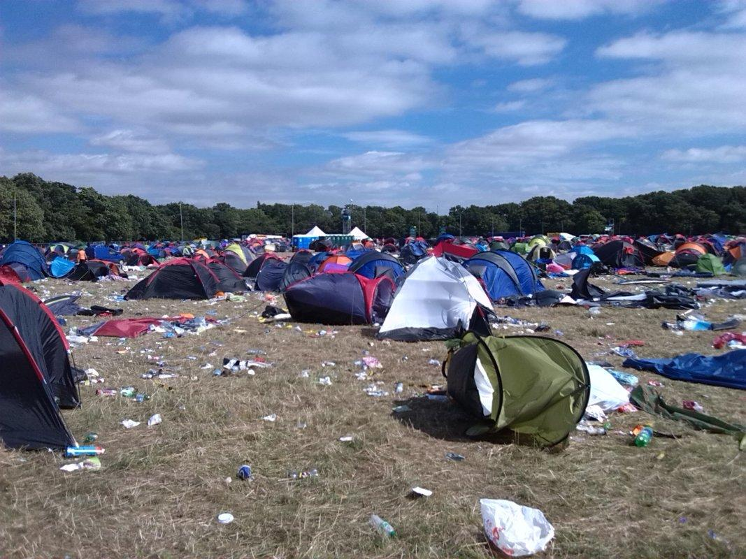 V Festival Clear Up 2016 - Swathes of the tented village -just all left for the landfill and bulldozers - such a waste