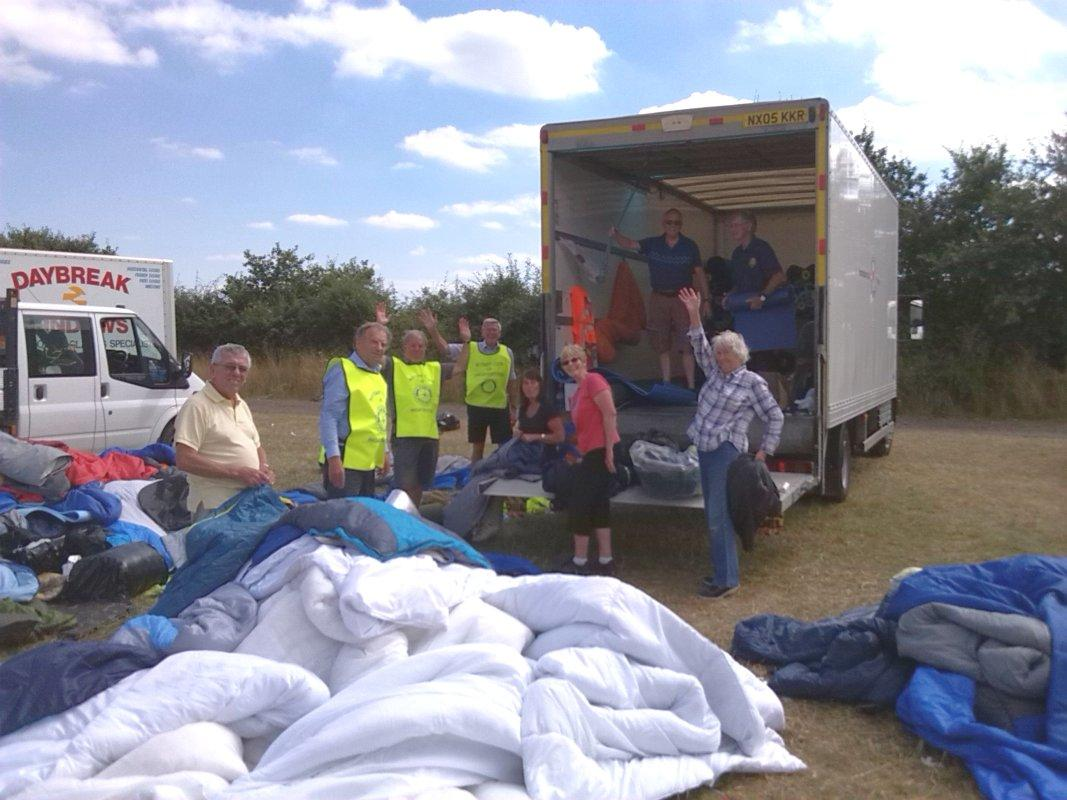 V Festival Clear Up - Hope & Aid Direct's lorry and the packers at work