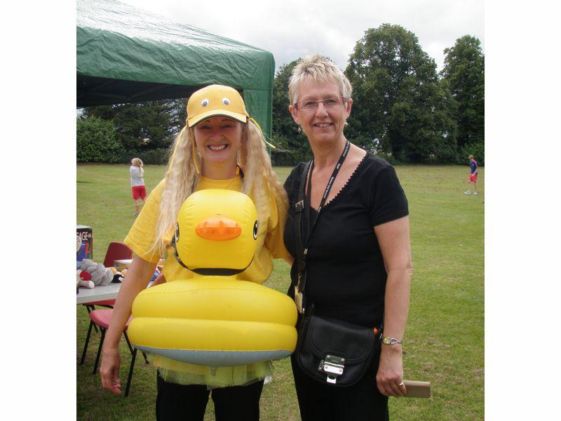 Our 'Hook a Duck' Lake - along with Sylvia Kerris, our Hook a Duck mascot with Walton Hall schoolteacher Joan Lister.