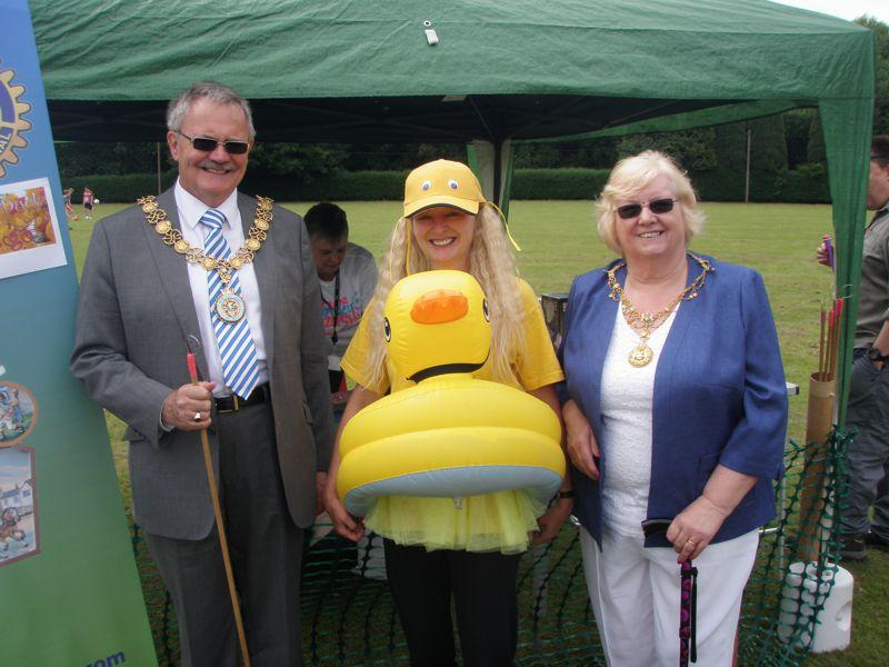 Our 'Hook a Duck' Lake - Stafford Cllr Peter Jones and the Lady Mayoress Mrs Joy Jones along with Sylvia Kerris, our Hook a Duck mascot (center)