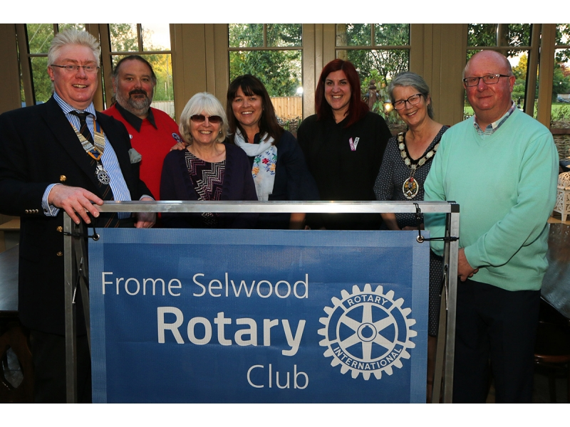 President's Evening - with a difference - President Andrew, Mayor of Frome (Sheila Gore) and representatives of the organisations receiving cheques on the night.